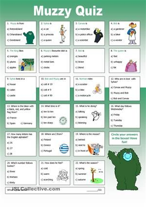 At the end of the school year I always watch Muzzy to let students revise what they have learned so far. Here is a quiz to go with Muzzy in Gondoland. - ESL worksheets