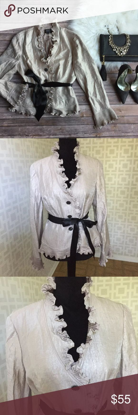 🆕 Adrianna Papell Evening Wear Metallic Blouse 10 Excellent used condition Adrianna Papell Tops Blouses