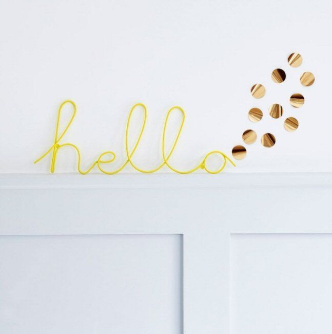 Yellow Hello Wire Word Retro Wall Plaque Sign Art Hallway Kitchen Bedroom Decor Home Furniture Diy Ho Wall Plaques Signs Hello Word Diy Letters