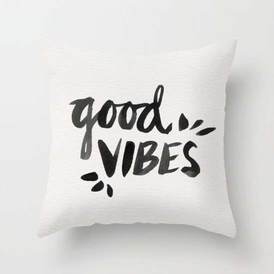 Buy Good Vibes – Black Ink Throw Pillow by Cat Coquillette. Worldwide shipping available at Society6.com. Just one of millions of high quality products available.
