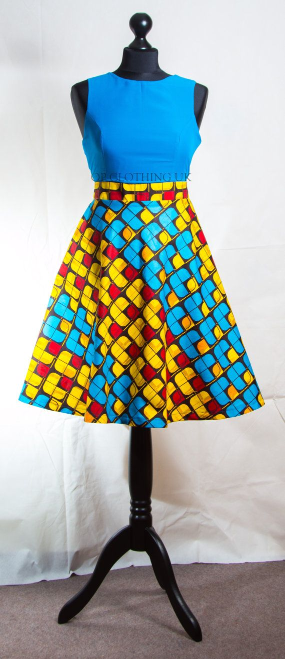 Short African print dress summer African Print by opclothinguk