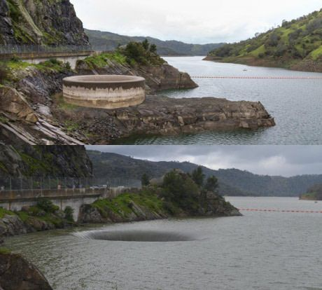 """The rain in California has led to the overflow """"Glory Hole"""" being useful for the first time in over 10 years. Last year (top) vs. yesterday"""
