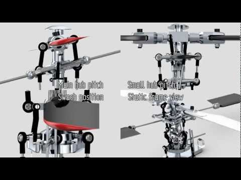 Helicopter Rotor Animation: Hiller-Bell mechanism - YouTube