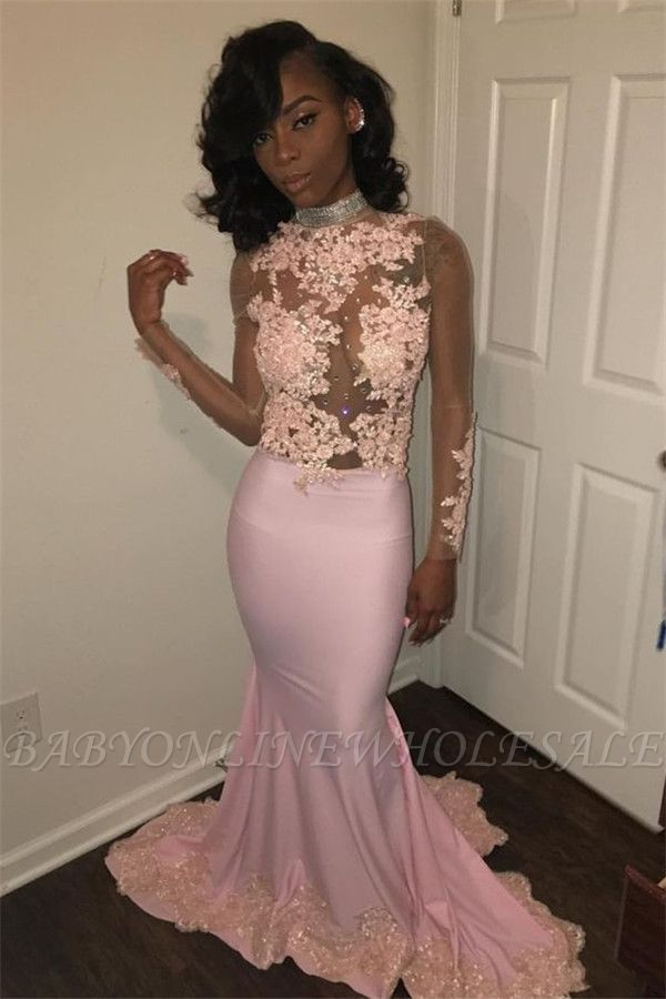 b9699c6c759 Sexy Mermaid Pink High Neck Prom Dresses Long Sleeves Appliques Evening  Gowns with Beadings SK0111