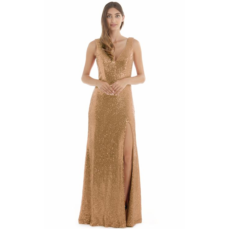 Screaming celebrity style and old hollywood glamour is this gold evening dress. Dress Style Points:Featuring a fine gold sequin suiting all skin tones  V neckline allowing your to wear a bra  Padded bust cups are added for extra support Skimming your body making this a flattering style  Centre back zip for ease We offer free delivery