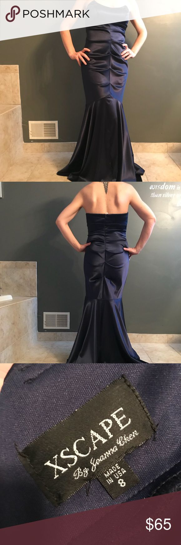👗NEW ITEM👗 Strapless Navy Xscape Evening Gown This dress is an Xscape by Joanna Chen and is quite stunning. It was worn once and has not been altered. The slimming effects hugs all of the right curves and gives the trumpet-style look. EUC; smoke free home! Xscape Dresses Strapless