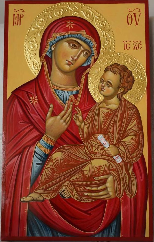 Theotokos Hodegetria Hand-Painted Byzantine Icon Halo Gold Relief