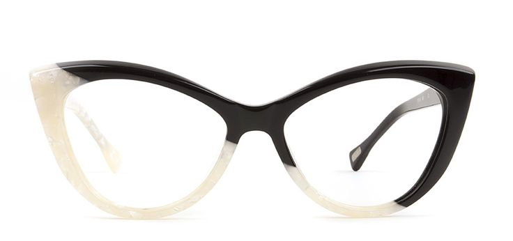 Size 53-17. SEE 3630. Black and White Cat-eye  Acetate Asymmetrical.