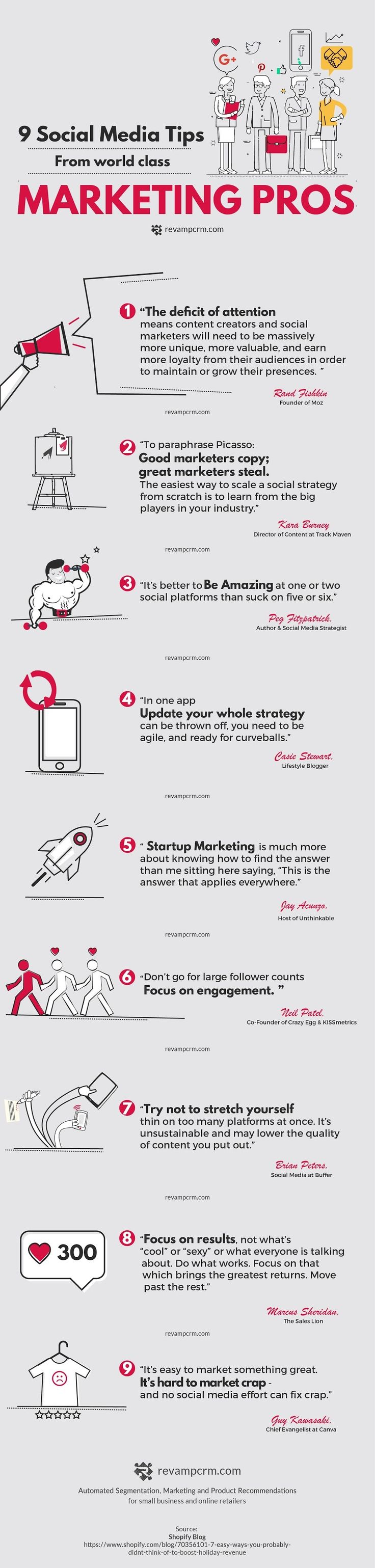 9 #Social #Media Tips From #World #Class #Marketing Pros - Do you fancy an infographic? There are a lot of them online, but if you want your own please visit http://linfografico.com/en/prices/ Online girano molte infografiche, se ne vuoi realizzare una tu