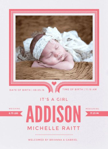 Ribbon Frame Birth Announcement. Baby. Design Fee by PartyGlamourShopBaby on Etsy https://www.etsy.com/listing/262523575/ribbon-frame-birth-announcement-baby