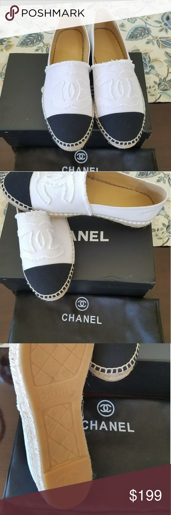 Chanel Espadrilles Canvas White Canvas Espadrilles. price reflects auth. Leather insole. made is in Spain. All details in place.  Run small - for a best fit order 1 FULL size LARGER than you usually wear.  Sorry - no trades ! No exchanges or returns. Price is firm. Allow 2 weeks for delivery.  Come in a box and with a dust bag.  size eu 36 =22.5-23 cm size eu 37 =23-23.5 cm size eu 38 =23.5-24 cm size eu 39 =24-24.5 cm size eu 40 =24.5-25 cm size eu 41 =25-25.5 cm size eu 42 =25.5-26 cm…