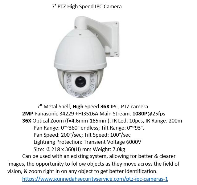 PTZ IPC CCTV camera, idea for systems where remote control & remote zooming get better results, or systems where it is required. Better image quality & resolution
