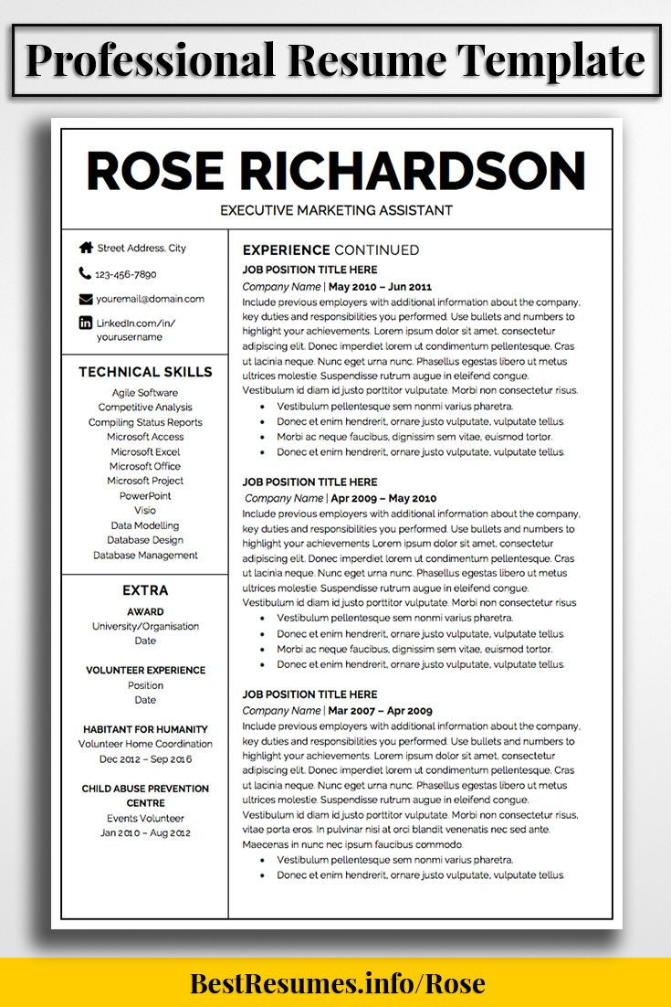 Professional Resume Template To Stand Out With Your Job Resume!  Downloadable Resume Templates And Great