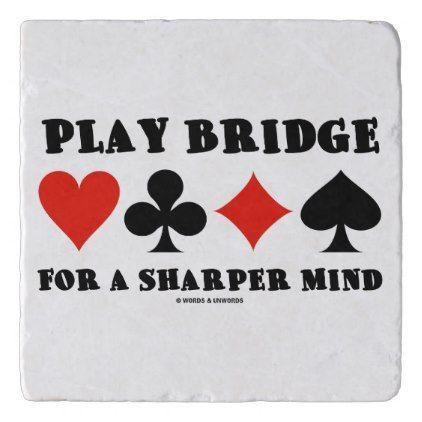 Play Bridge For A Sharper Mind Four Card Suits Trivet - personalize cyo diy design unique