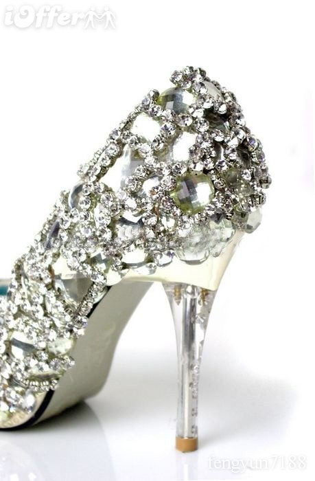 My Wedding Dress Shoes!!!--diamond crystal pumps with lucite heels (My Wedding Dress is below!)