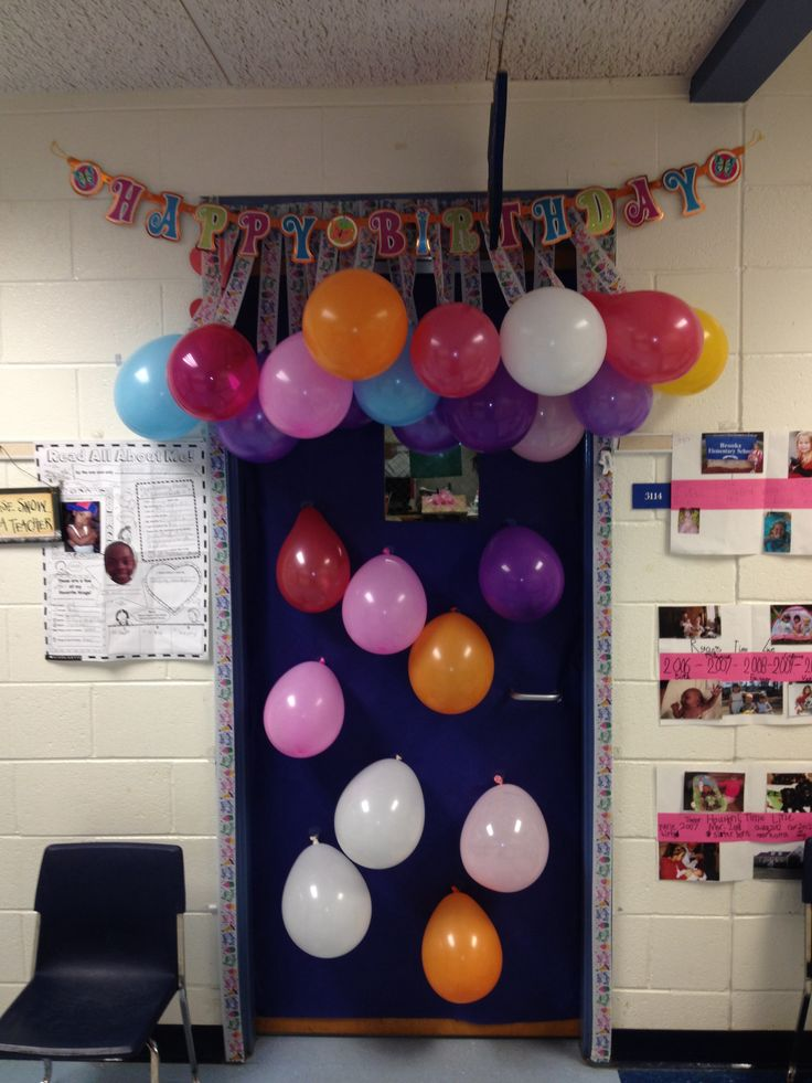 Classroom Birthday Party ~ Teacher birthday door decoration gifts pinterest