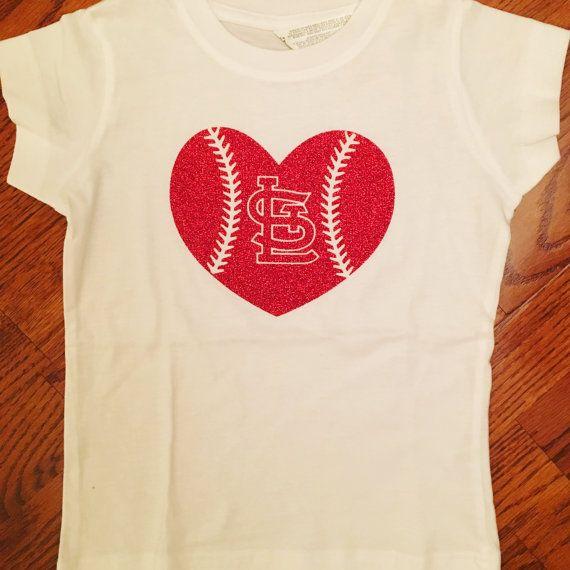 Cardinal shirt, baseball heart, girls cardinal shirt, fitted t-shirt, St. Louis…