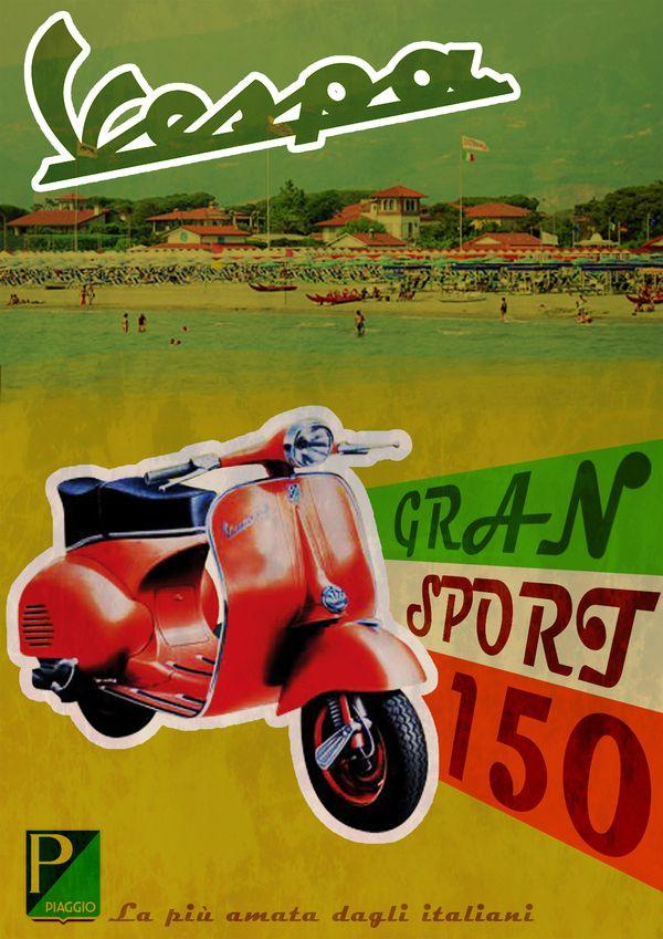 Vintage Italian Posters ~ #illustrator #Italian #vintage #posters ~ Vespa