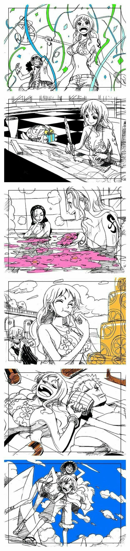 Happy Birthday Nami, cute, comic, Usopp, Chopper, Robin, Sanji, Zoro, Luffy, Nami, cake, food, present, bath, onsen, hot tub, water, beach, swimsuits, booze, sake, funny; One Piece