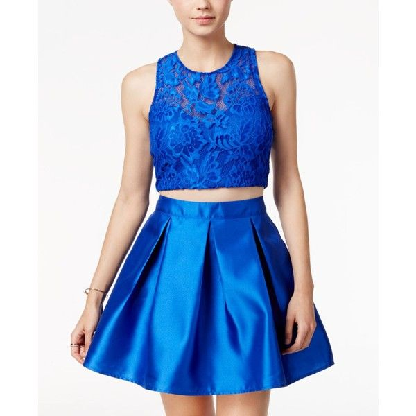 Teeze Me Juniors' Arcadia 2-Pc. Lace A-Line Dress ($80) ❤ liked on Polyvore featuring dresses, royal blue, royal blue party dress, party dresses, blue a line dress, skater skirt and two piece dresses