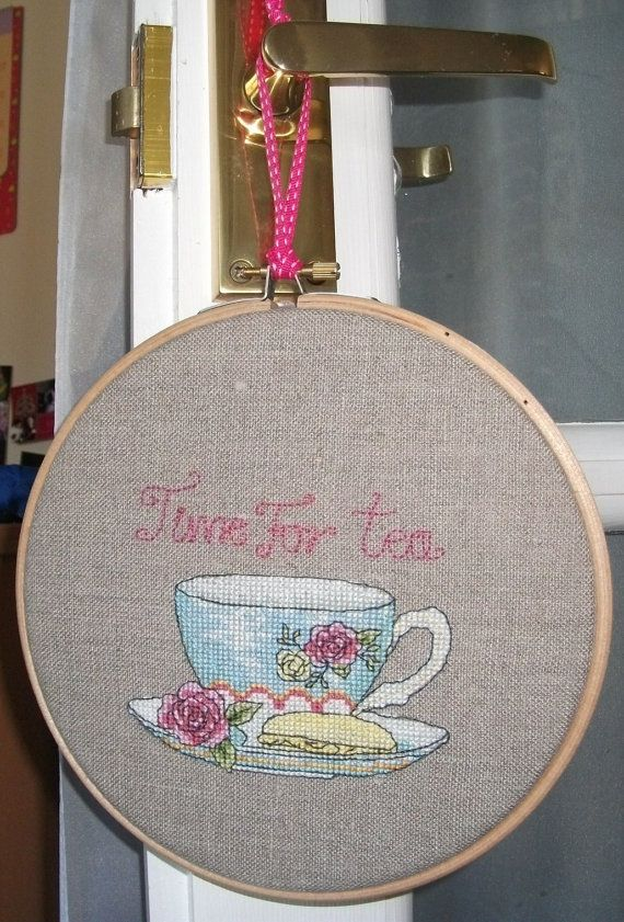 "Hanging embroidered ""Time for tea"" picture in Wooden hoop frame on Etsy,"