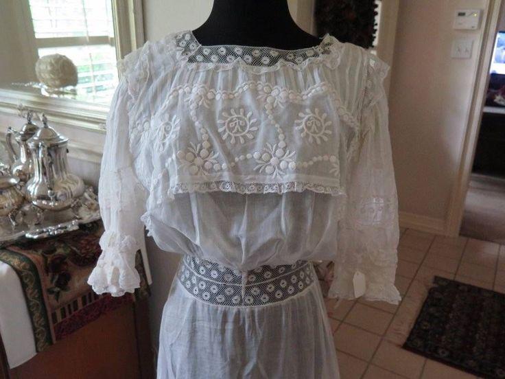Antique Large Edwardian Lace Lawn Tea Wedding Dress Gown Exceptional #Handmade