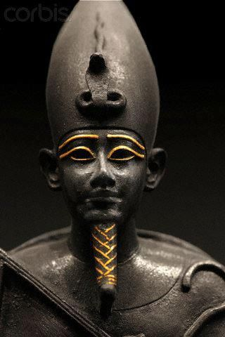 Ausaur (Osiris) of ancient Kemet (Egypt), circa 664-332 BCE. Bronze with gold incrustations.