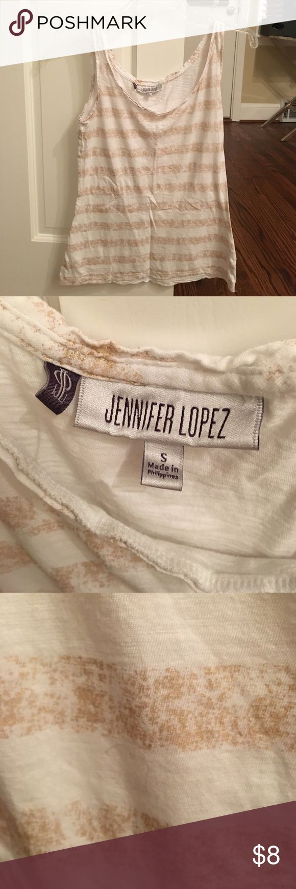 Jennifer looez tank top White with gold stripes. In predicted condition with a lot of life left!! Tops Tank Tops
