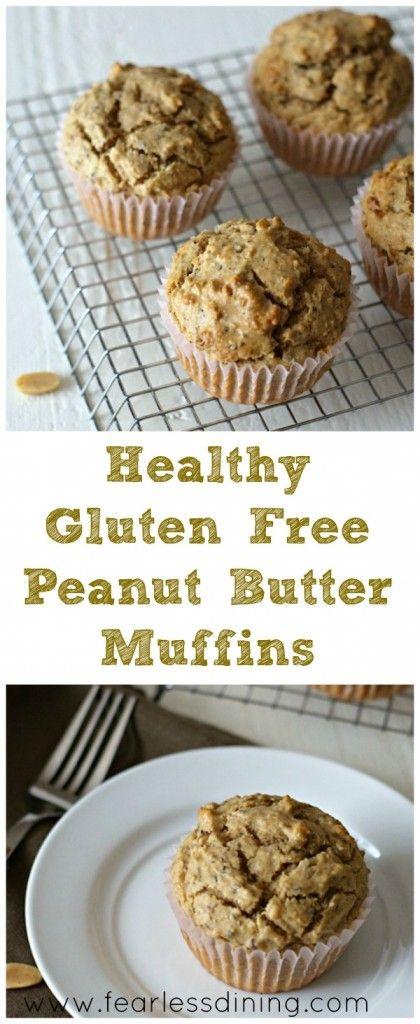 Healthy Gluten Free Peanut Butter Muffins. How to make healthy gluten free muffins. Easy gluten free muffins. Peanut butter muffin recipe found at http://www.fearlessdining.com