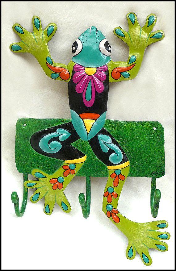 Painted Metal Green Tree Frog Wall Hook  Bathroom Décor Tropic Decor - Coastal Décor – Tropical Decorating – Tropical Style – Caribbean Décor - Interior Design - Beach Cottage Decor - Florida home - Home Décor  by TropicAccents, $22.95