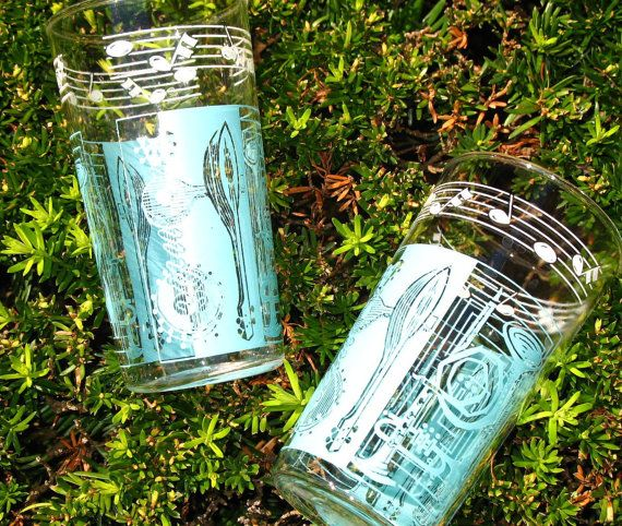 Vintage 50s Musical Notes and Instruments Blue and White Pair of Tumblers
