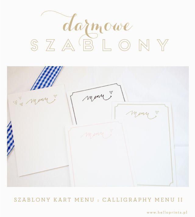 Hello! Prints Blog | Darmowe szablony kart menu calligraphy II / Free printable menu cards | http://www.helloprints.com.pl/blog