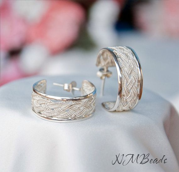 Braided Metalwork Silver Hoop Stud Earrings by NMBeadsJewelry