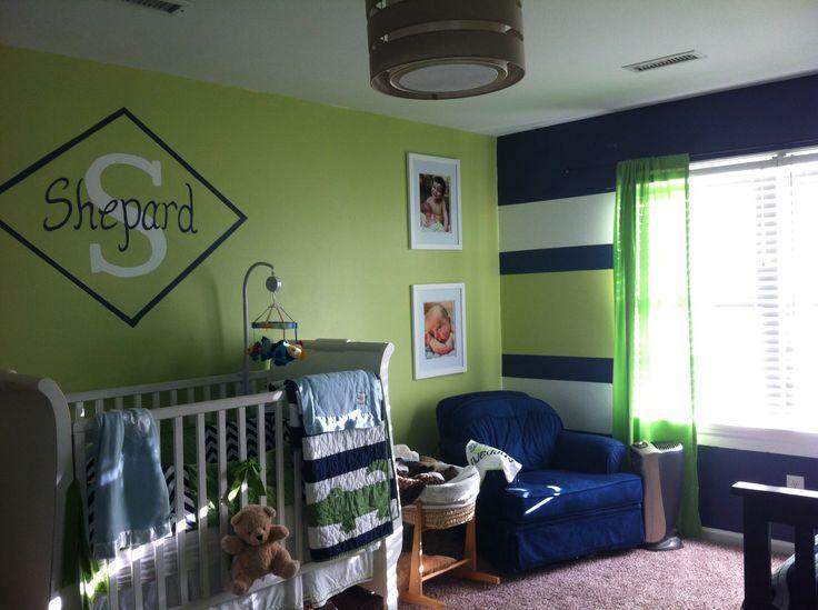 Green and navy boy nursery