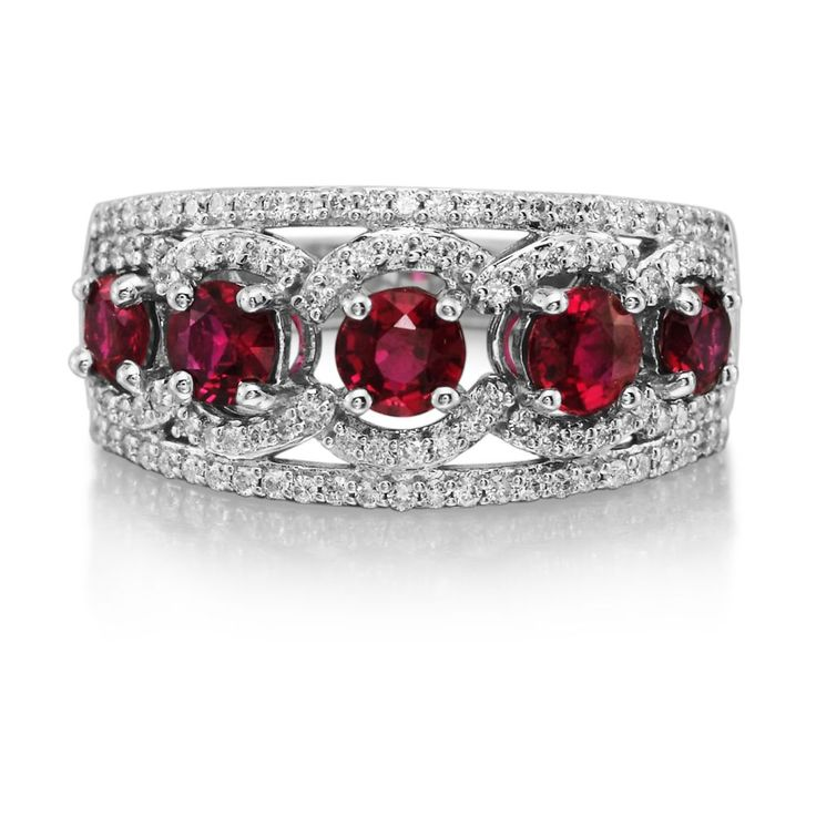 halo in set white oval and image bands diamond ring ruby vintage gold anniversary