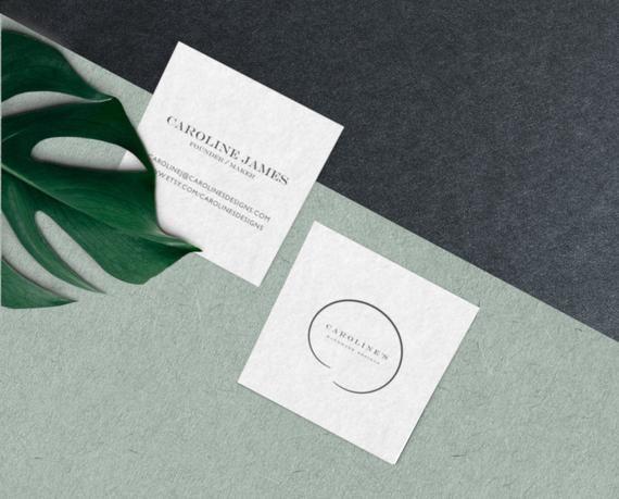 Business Card Design Premade Editable Diy Business Cards Etsy Square Business Cards Design Business Card Design Moo Business Cards