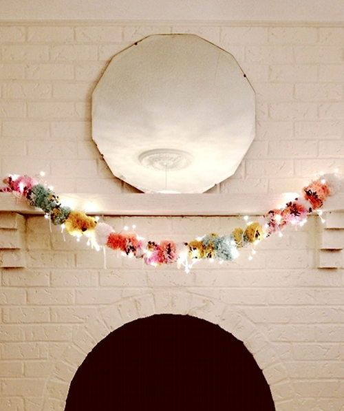 105 DIY Projects That Will Make You Proud: Make a pom pom garland that's darling enough to stay up all year long!