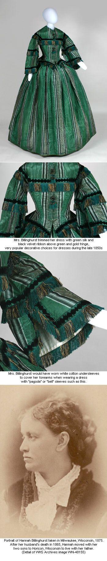 Promenade dress worn by Hannah  Billinghurst of Juneau, Wisconsin, 1857: Civil War