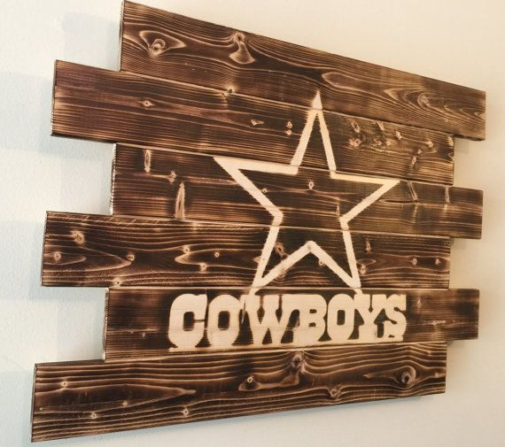 Charred wood sign. Dallas Cowboys Football. Measures 28x21