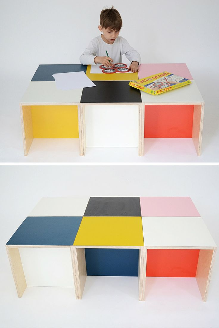 Colourful piece of furniture made of wood and Formica. It can be used as a chair, a table or a shelf.