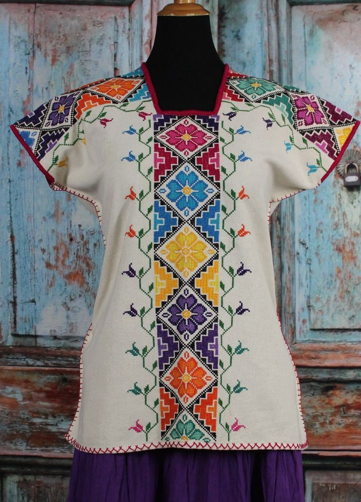 Michoacan Blouse Hand Embroidered & Woven Mexico, Frida Kahlo Hippie Boho Style #Handmade #blouse