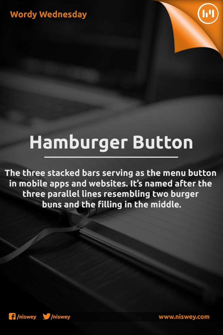 "Hamburger Menu: ""The three stacked bars serving as the menu button in mobile apps and websites. It's named after the  three parallel lines resembling two burger buns and the filling in the middle."""