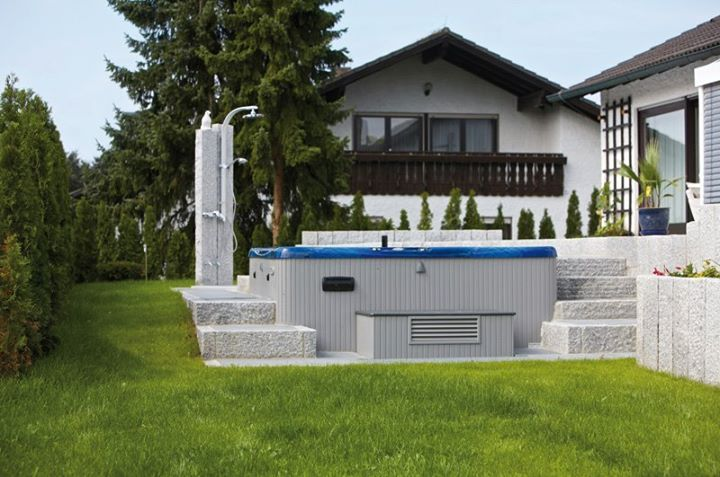 A sunken Beachcomber hot tub installation. A great way to get the most out of your backyard. #beachcomberhottubs #hottubs #outdoorliving  #canada #relaxation #hydrotherapy #massage