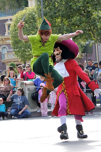 Peter Pan & Captain Hook dueling in Disneyland. But we all know who wins.. (; (Nothing out of the ordinary around this place)  (;