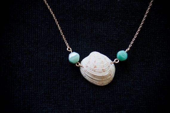 Handmade sea shell necklace on gold chain hawaiian necklace hawaiian jewelry beach wear beach necklace