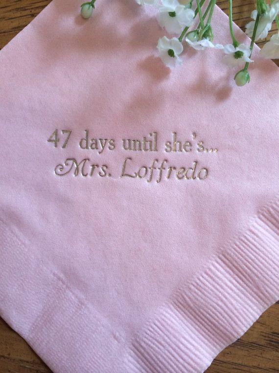 bridal shower personalized cocktail napkins