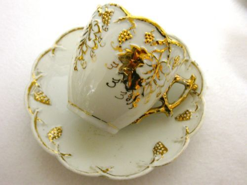 GRAPES and VINES Antique Porcelain Tea Cup and Saucer