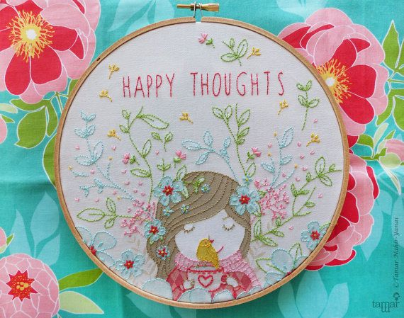 Welcome to my shop. Happy Thoughts Embroidery design can be appliqued to a pillow cover or a bag. It can also make an excellent wall decoration,
