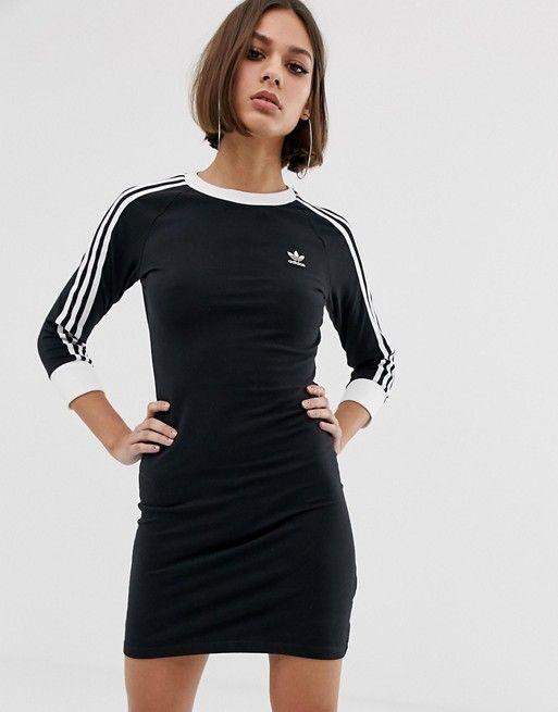 f8e33d57b70e62 adidas Originals adicolor three stripe mini dress in black in 2019 ...
