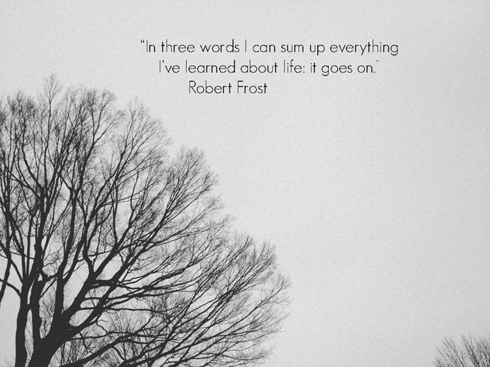 """""""In three words I can sum up everything I've learned about life: it goes on""""-Robert Frost"""